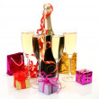 Stock Photo: Champagne and gifts