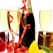 Champagne and gifts — Foto de Stock