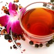 Tea and pink orchid — Foto de Stock