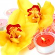 Stock Photo: Yellow orchids and candles