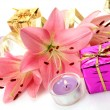 Box with a gift and lilies — Stockfoto