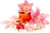 Box with a gift and lilies — Stock Photo