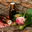 Oil and pink rose — Stock Photo