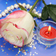 Stock Photo: Rose and candle