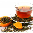 Tea and orange - Stock Photo