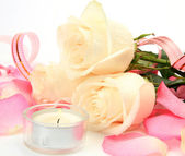 Rose and candles — Stock Photo