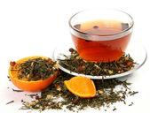 Tea and orange — Stock Photo