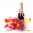 Wine and pink lilies — Stock Photo #17849751