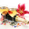 Wine and pink lilies — Stock Photo