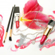 Stock Photo: Decorative cosmetics and pink lilies