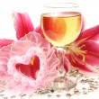 Stock Photo: Wine and pink lilies