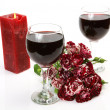 Stock Photo: Wine and roses