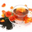 Tea and roses — Stock Photo