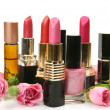Decorative cosmetics and roses — Stok fotoğraf
