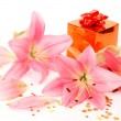 Stock Photo: Pink lilies and box