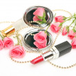 Decorative cosmetics and roses — Foto de Stock
