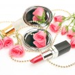 Decorative cosmetics and roses — Photo