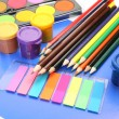 Color pencils and paints — Stock Photo #18959663