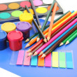 Color pencils and paints — Stock Photo #18959883
