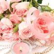 Fine roses and candle — Stock Photo #19010555