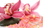 Pink orchids and candles — Stock Photo