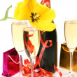 Stock Photo: Champagne and yellow tulips