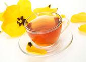 Tea and yellow tulip — Stock Photo