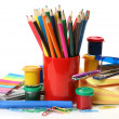 Color pencils and paints — Stock Photo #24236353