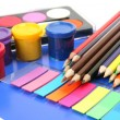 Color pencils and paints — Lizenzfreies Foto