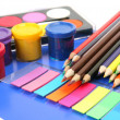 Color pencils and paints — Stock Photo #24236357