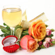 Wine and roses — Stock fotografie