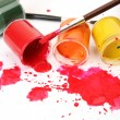 Stock Photo: Color paints and brushes