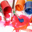 Color paints and brushes — Stock Photo