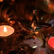 New Year's ornaments and candles - Foto Stock