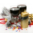 Royalty-Free Stock Photo: New Year\'s ornaments and wine