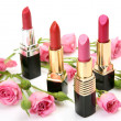 Decorative cosmetics and roses — Foto Stock