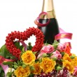 Stock Photo: Champagne and bouquet of roses