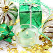 New Year's ornaments and candles - Stock Photo