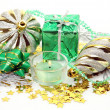 New Year's ornaments and candles — Stock Photo #24239579