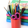 Foto Stock: Color pencils and books