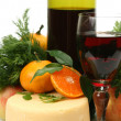 Ripe fruit and wine — Stock Photo