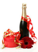 Champagne y flores — Foto de Stock