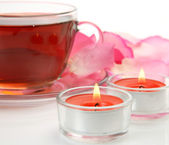 Tea and candles — Stock Photo