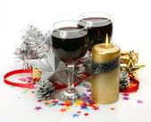 New Year's ornaments and wine — Foto de Stock