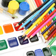Color pencils and paints — Stockfoto