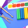 Color paper and paints - Stock Photo