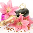 Champagne and pink lilies — Stockfoto