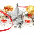 Foto Stock: Christmas ornaments and candles
