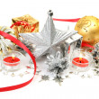 Christmas ornaments and candles — 图库照片