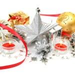 ozdoby świąteczne i świece — Zdjęcie stockowe